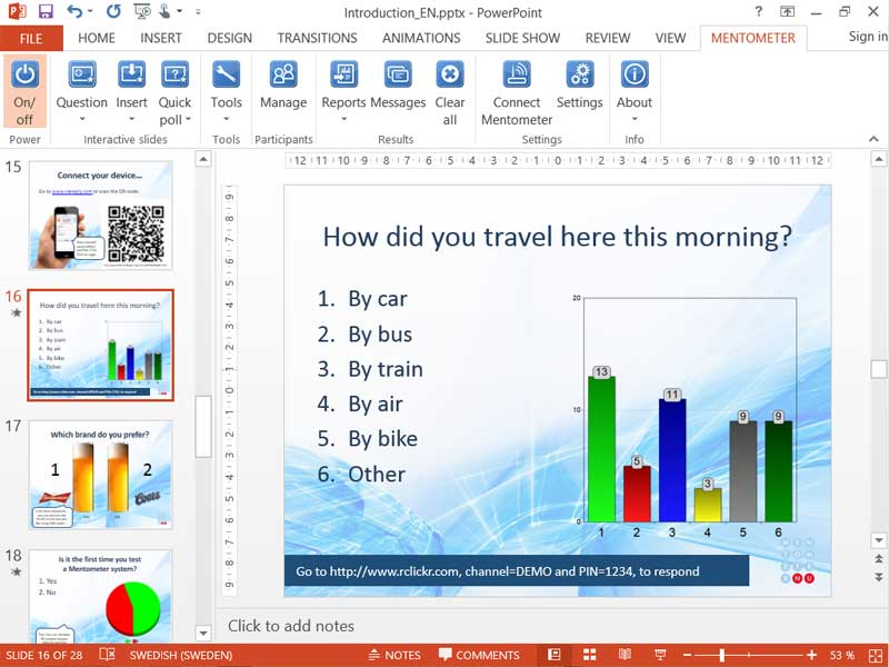 Easy-to-use interactive polling system integrated into PowerPoint® affordable Screen Shot